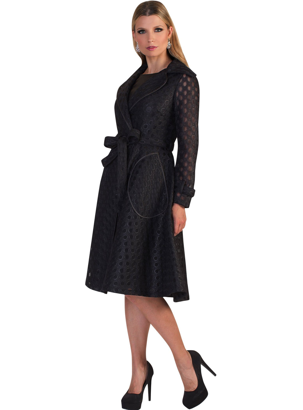 Dot Lace Belted Coat Dress