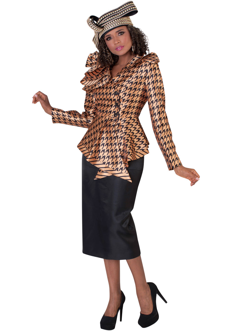 Ruffled Collar Houndstooth Suit 4645