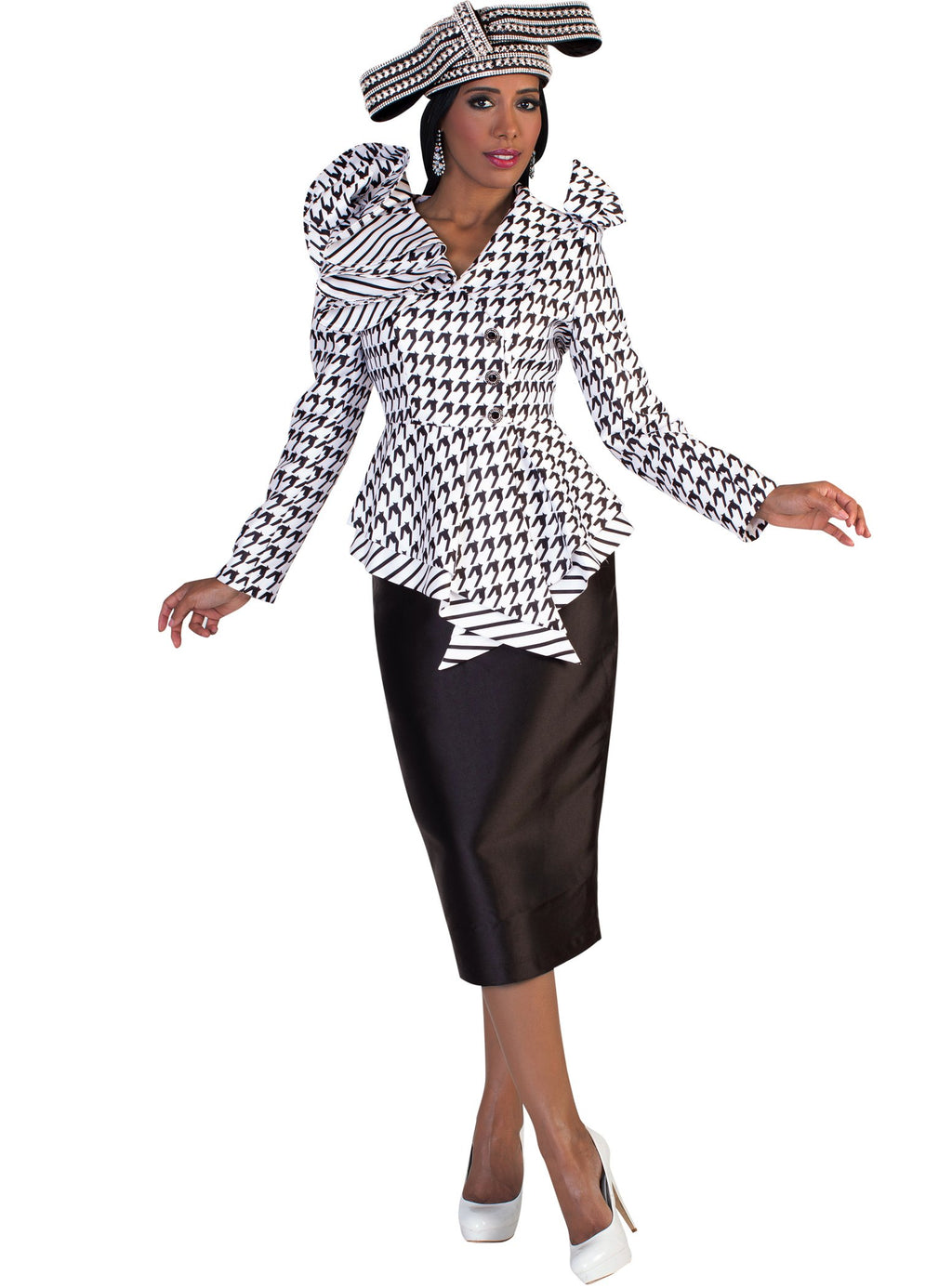 Ruffled Collar Houndstooth Suit