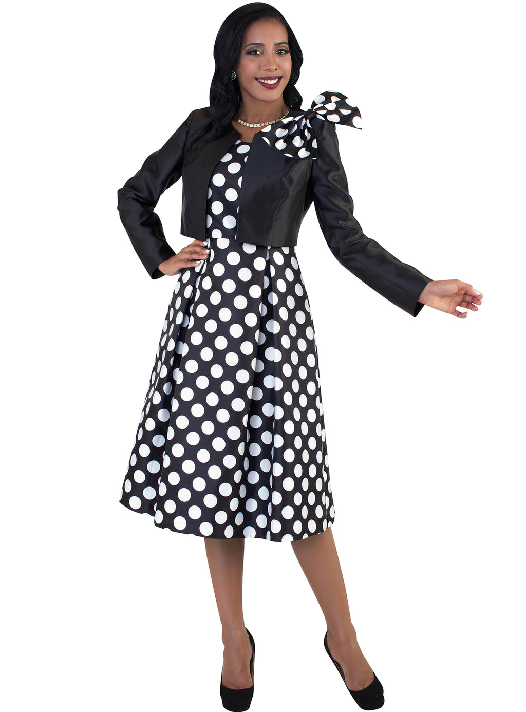Polka Dot Dress with Bow 4637