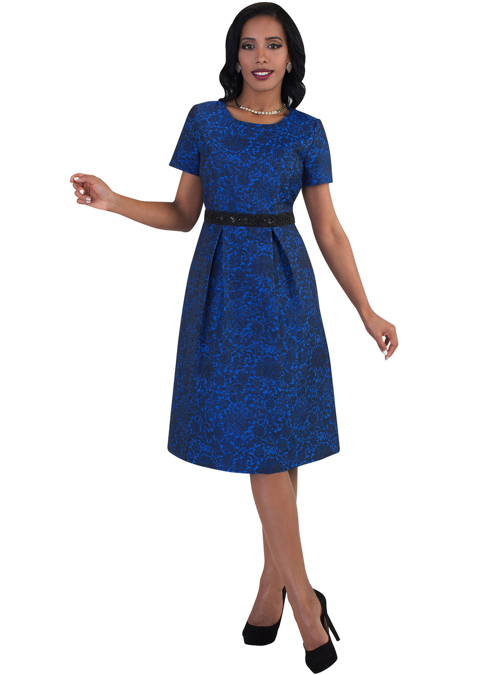 Damask Brocade Dress in Royal