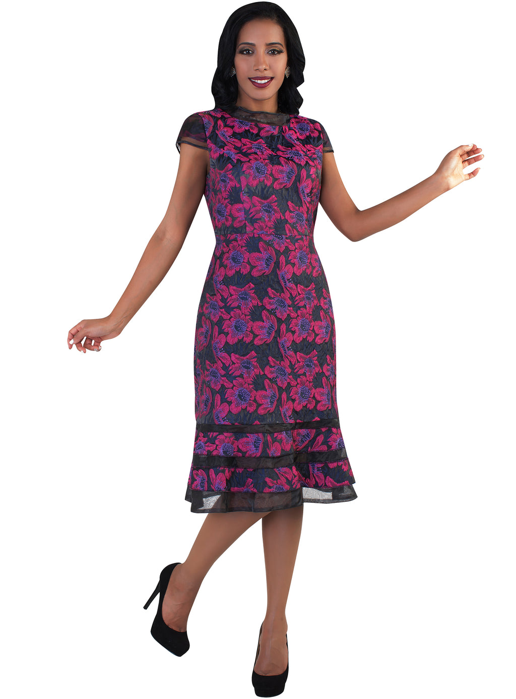 Cap Sleeve Floral Brocade Dress