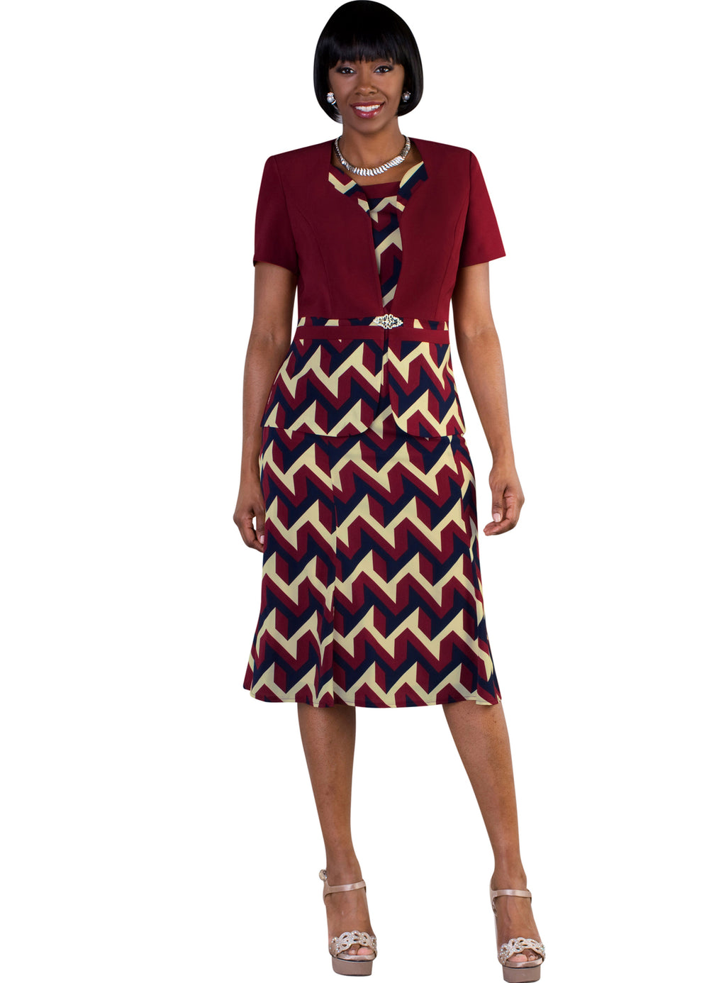 Zig-Zag Print Jacket Dress