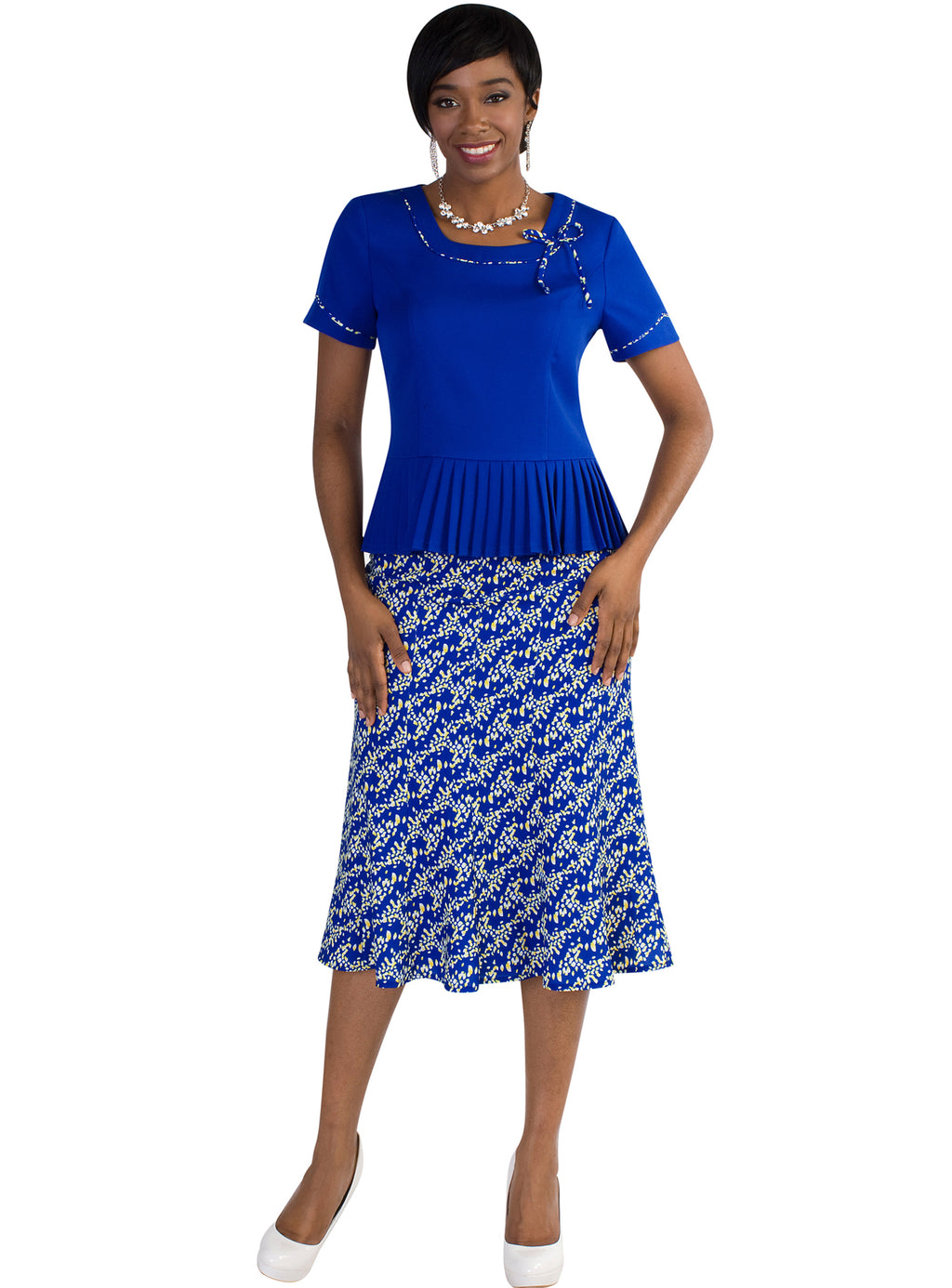 Pleated Peplum Skirt Set