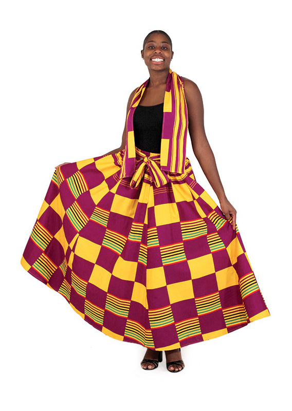Kente Square Pattern Skirt C-WH016