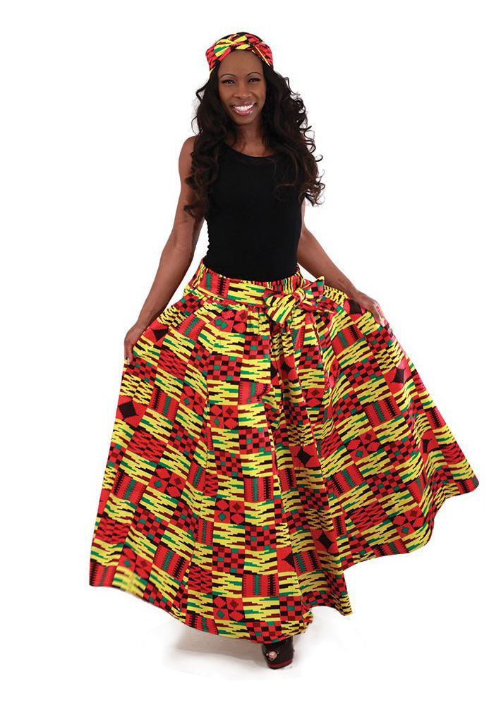 Kente Quilt Pattern Skirt C-WH145