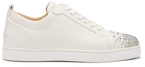 timeless design c8c29 ff73a Christian Louboutin - Louis Junior Degra Crystal Leather Trainers - Mens -  White