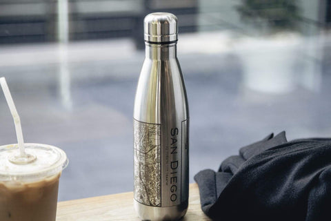 Map Engraved Insulated Bottle