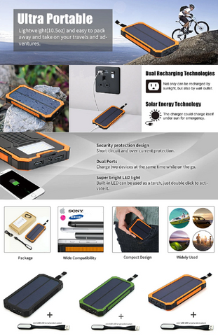Portable Waterproof 15000mAh Solar Power Bank Outdoor Charger