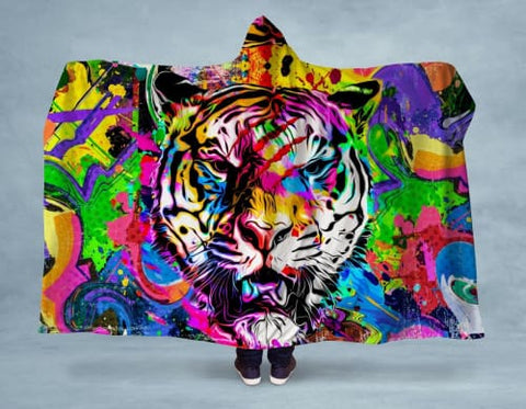 Abstract Tiger Hooded Blanket