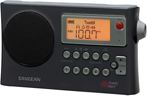 AM/FM Weather Alert Portable Radio with Bandwidth Narrowing AM Auto Tracking Radio