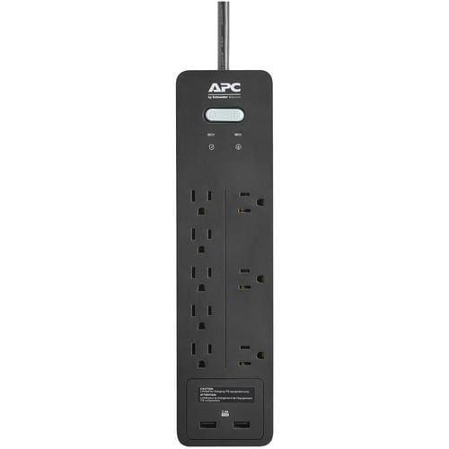 APC® 8-Outlet SurgeArrest® Home/Office Series Surge Protector with 2 USB Ports 6ft Cord Surge Protectors
