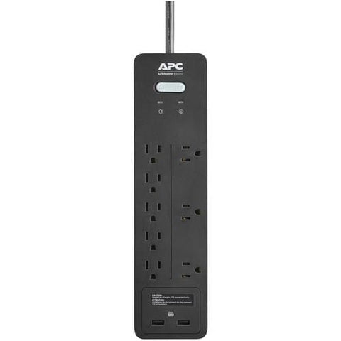 Image of APC® 8-Outlet SurgeArrest® Home/Office Series Surge Protector with 2 USB Ports 6ft Cord Surge Protectors