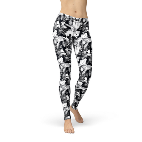 Image of Avery Black White Leaves XS / Multicolored / Short