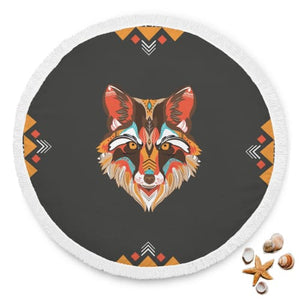 Awesome Colorful Wolf - Round Beach Blanket Beach Blanket