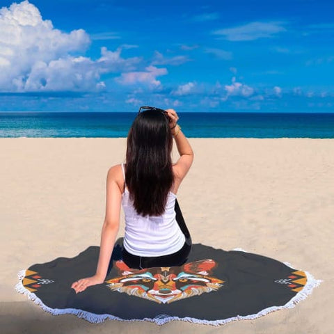 Awesome Colorful Wolf - Round Beach Blanket