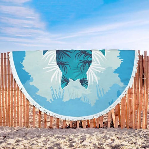 Awesome Sea Turtle Round Beach Blanket Beach Blanket