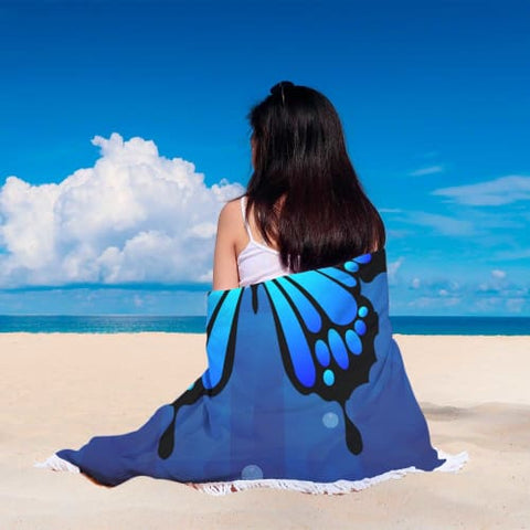 Beautiful Blue Butterfly - Round Beach Blanket Beach Blanket
