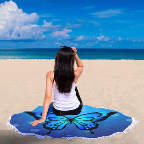 Beautiful Blue Butterfly - Round Beach Blanket