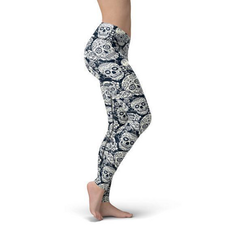 Image of Beverly Black White Skulls Leggings