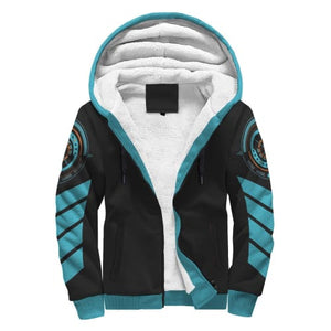 Black and Light Blue Striped AOP Sherpa Hoodie