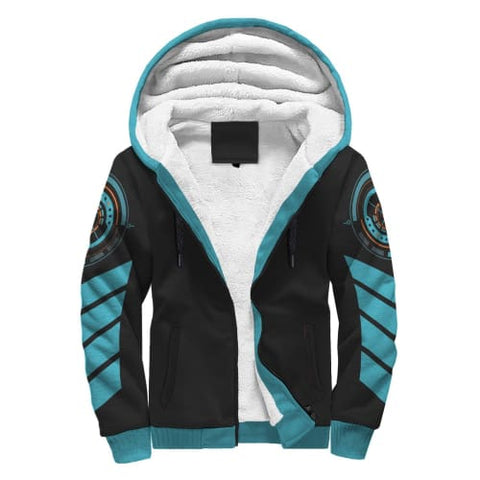 Image of Black and Light Blue Striped AOP Sherpa Hoodie