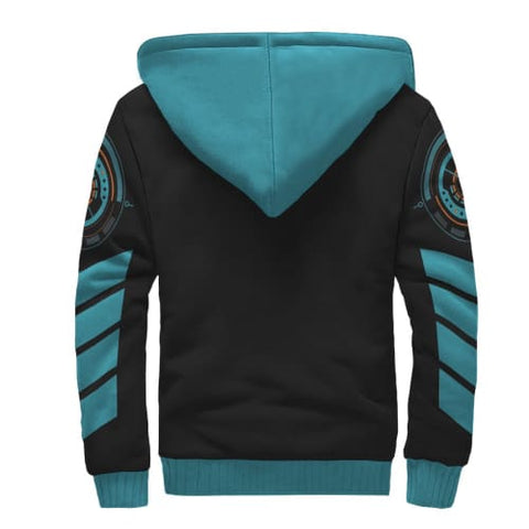 Black and Light Blue Striped AOP Sherpa Unisex Hoodie