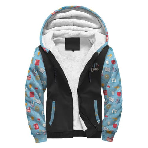 Image of Black and Light Blue with School Supplies AOP Sherpa Hoodie