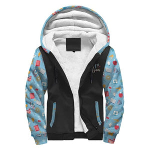 Black and Light Blue with School Supplies AOP Sherpa Hoodie