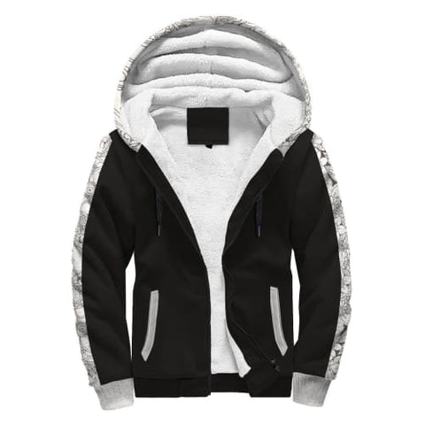 Image of Black and White AOP Sherpa Hoodie