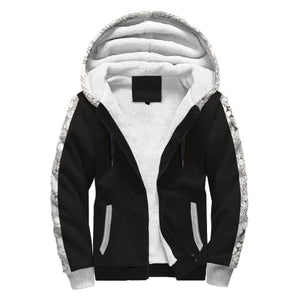 Black and White AOP Sherpa Hoodie