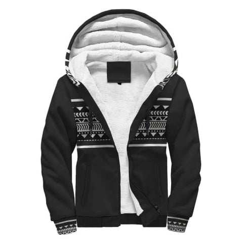 Black and White Aztec AOP Sherpa Hoodie