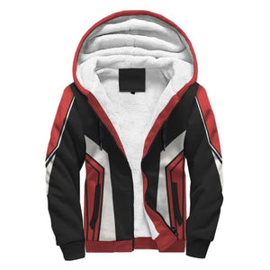 Black White and Red Party AOP Sherpa Hoodie