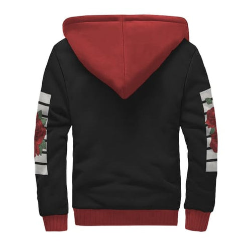 Black White and Red Rose AOP Sherpa Unisex Hoodie