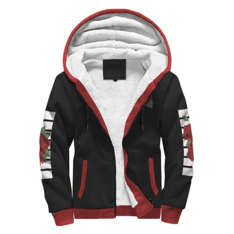 Black White and Red Rose AOP Sherpa Hoodie