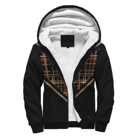 Image of Black with Striped Pattern AOP Sherpa Hoodie