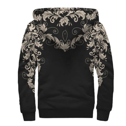 Black with White Flourish AOP Sherpa Unisex Hoodie