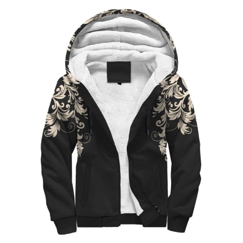 Black with White Flourish AOP Sherpa Hoodie