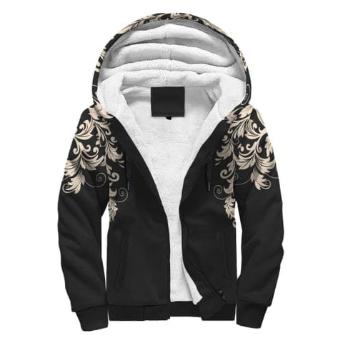 Image of Black with White Flourish AOP Sherpa Hoodie