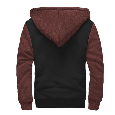 Burgundy and Black AOP Sherpa Unisex Hoodie