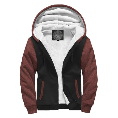Burgundy and Black AOP Sherpa Hoodie Jacket
