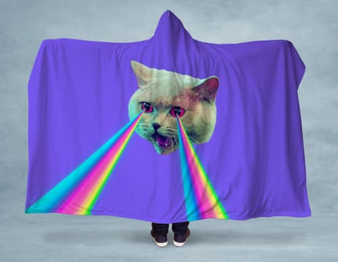 Cat Attack Hooded Blanket 80x60 / Multicolored