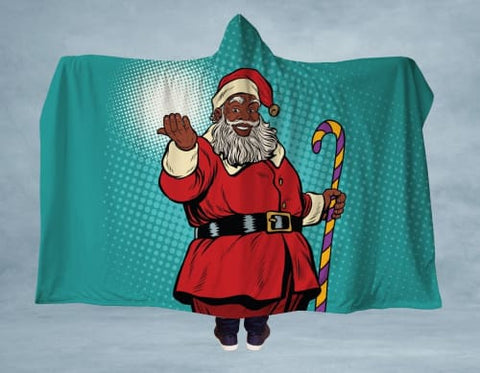 Image of Christmas Santa Hooded Blanket 80x60 / Multicolored