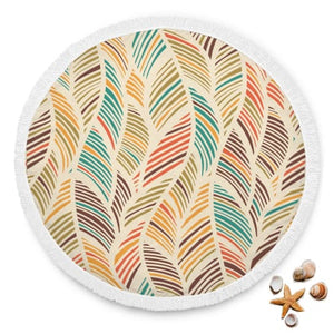 Colorful Coconut Leaves Round Beach Blanket Beach Blanket