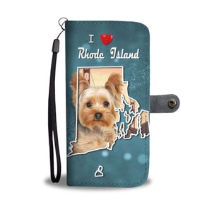 Cute Yorkie Print Wallet Case RI State Wallet Case