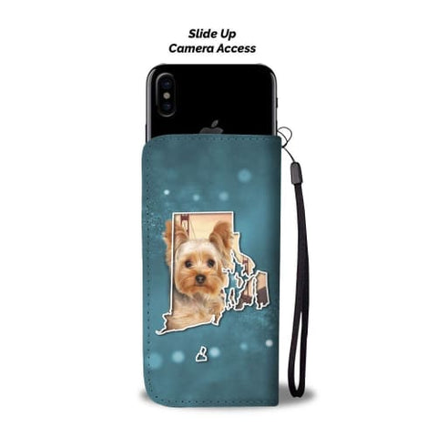 Image of Cute Yorkie Print Wallet Case RI State Wallet Case