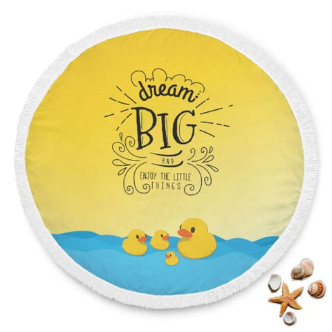 Dream Big and Enjoy - Round Beach Blanket Beach Blanket