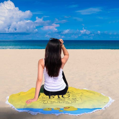 Dream Big and Enjoy - Round Beach Blanket