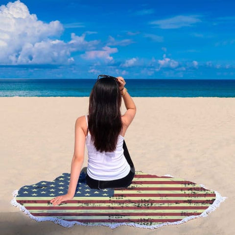 Faded American Flag Round Beach Blanket Blanket