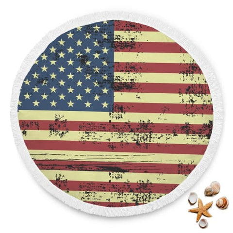 Image of Faded American Flag Round Beach Blanket Blanket Beach Blanket